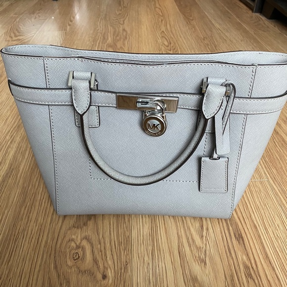Authentic Michael Kors gray tote with lock NWT